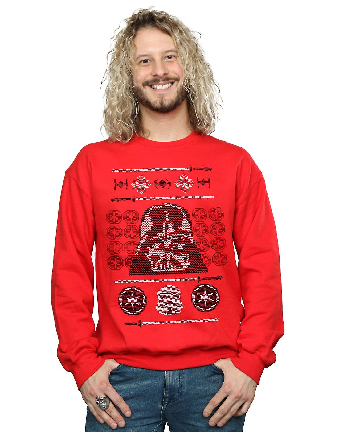 Star Wars Men's Christmas Vader Head Fair Isle Sweatshirt