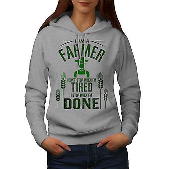 Çiftçi İş I Stop Kadınlar GreyHoodie   Wellcoda