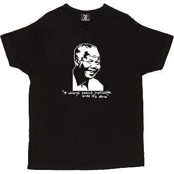 Nelson Mandela V-Neck Black Men-apos;s T-shirt