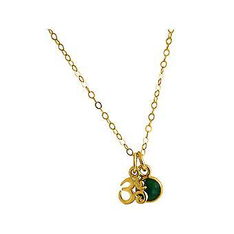Gemshine YOGA meditation ohm halsband 925 silver, guldpläterad, rosa 1,3 cm smaragd