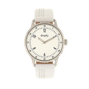 Yksinkertaistaa 5700 nahka bändi Watch - valkoinen