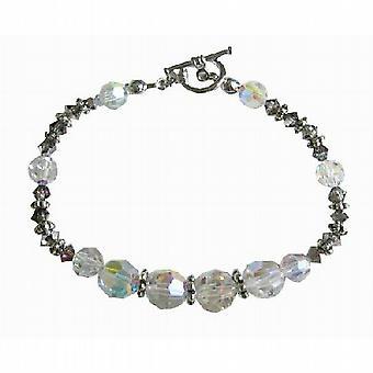 Swarovski AB Vulkan Kristalle Bali Silber Spacer Brautjungfer Armband
