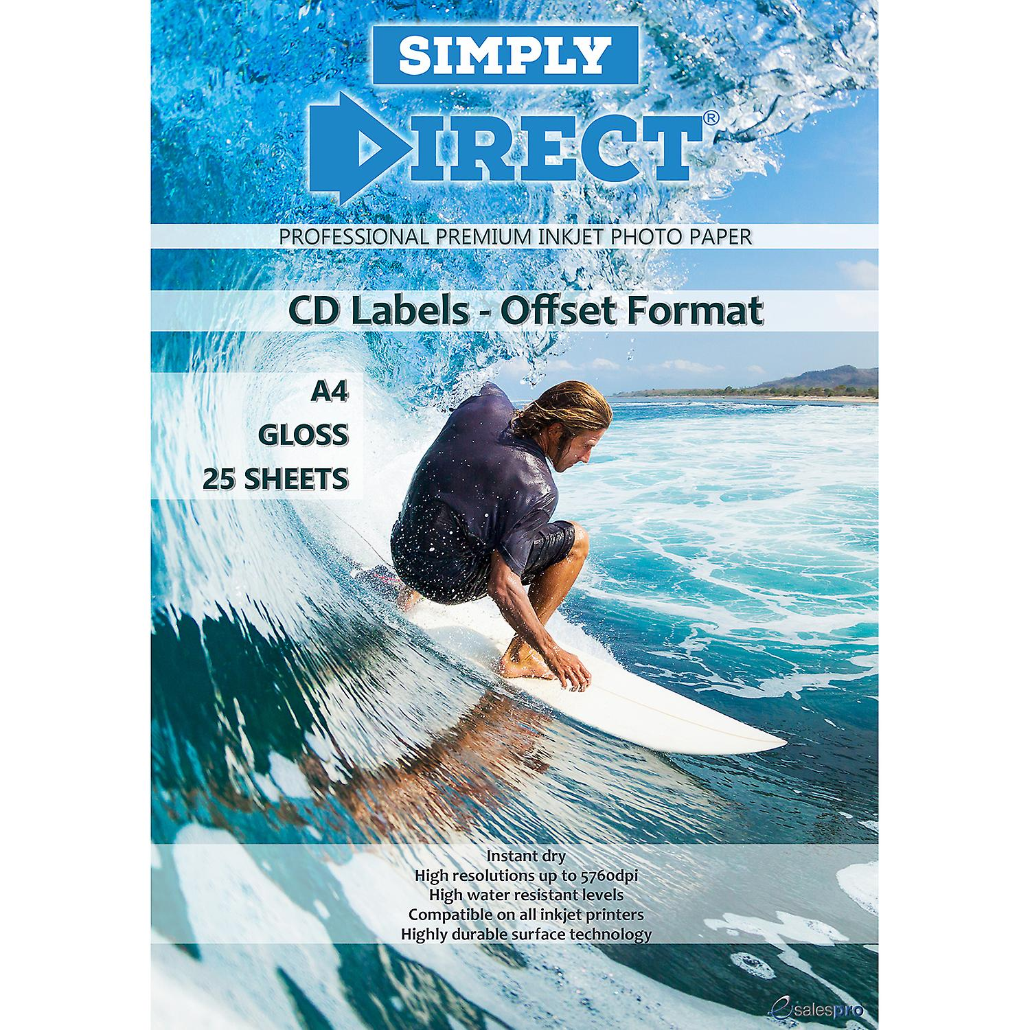 25 x Simply Direct A4 Gloss Offset CD / DVD / Blu-ray Disk Label, 2 Labels Per Sheet - 130gsm - Professional Premium Inkjet Paper