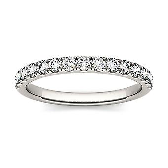 14K White Gold Forever One 1.9mm Round Wedding Band, 0.38cttw DEW