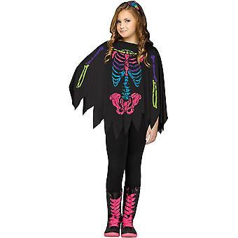 Skelett schwarz-weiß-Poncho für Kinder - 20121