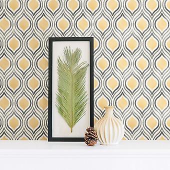 Papel pintado retro pluma abstracto amarillo gris blanco calle imprime pegar la pared