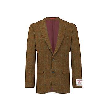 Scottish Harris Tweed Mens Rust Windowpane Check Tweed Jacket Regular Fit 100% Wool Notch Lapel
