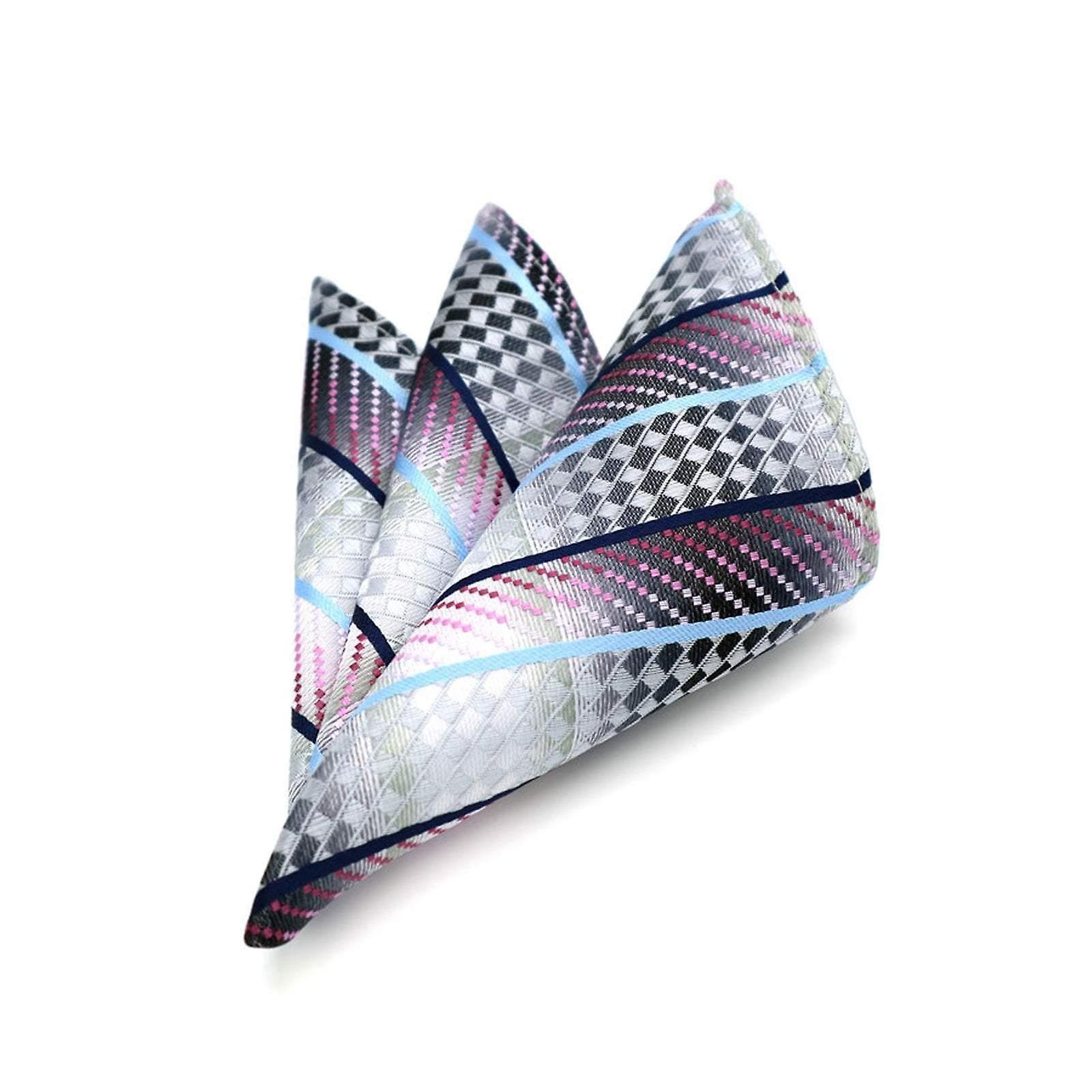 Pink blue & silver fish scale shimmer pocket square