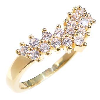 Ah! Biżuteria Panie klasą 18kt prawdziwego złota wypełnione Lab tworzone Wishbone pierścionek z brylantem