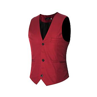 Allthemen Men's V-Neck Suit Vest Cotton Slim Four Seasons Vest