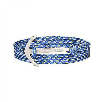 Rope Mosley Silver sandblåst Anchor/blå, gul og hvit Paracord armbånd HLB-01SRS-P17