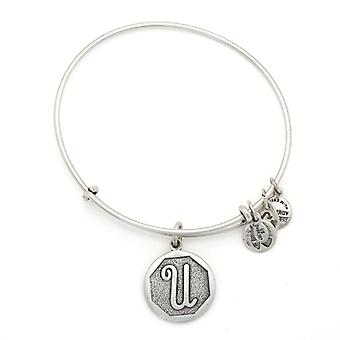 Alex and Ani Initial U Silver Bangle A13EB14US