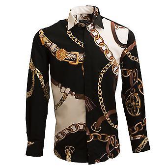 Oscar Banks Belt And Chains Print Long Sleeve Mens Shirt