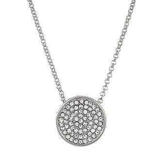Belle et Beau Silver Plated Round Pave Crystal Necklace