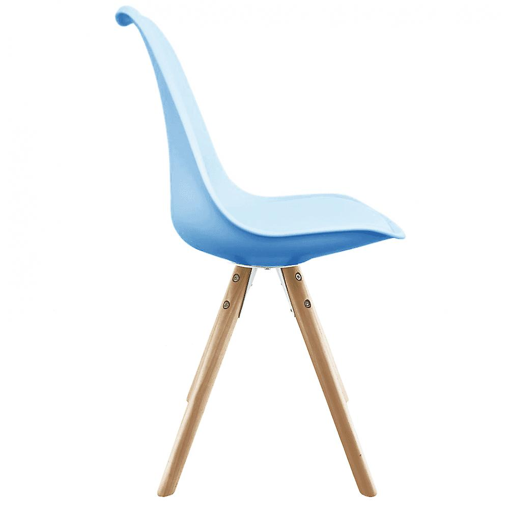 Fusion Living Eiffel Inspired Blue Plastic Dining Chair With Pyramid Light Wood Legs