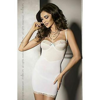 Passion Lingerie Ava White/Ecru Sheer Chemise & Matching Thong