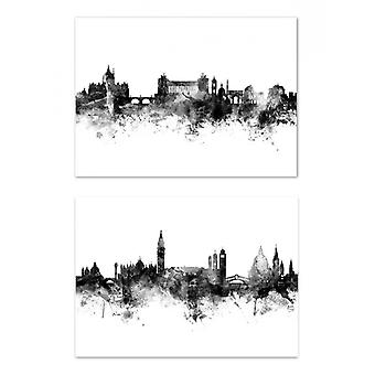 2 Art-Posters - Skylines Rome and Venice - Michael Tompsett