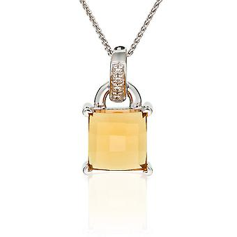 PENDANT WITH CHAIN 925 SILVER YELLOW QUARTZ  ZIRCONIUM