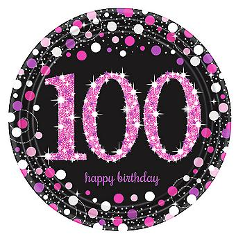 Amscan Prism Pink 100th Birthday Celebration Plates (Pack Of 8)