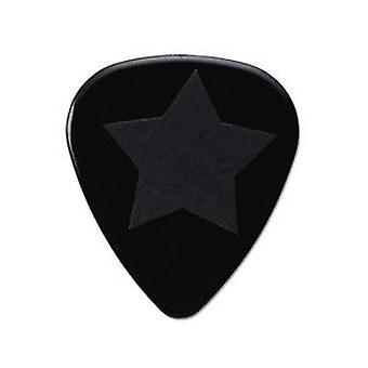 6 Pickboy Grip Lock Guitar Picks/Plectrums - Black Star Heavy 1.00mm