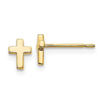 14k oro amarillo Madi K para niños o niñas religioso fe Cruz Post Pendientes - .3 gramos
