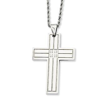 Stainless Steel Engravable Fancy Lobster Closure Polished Religious Faith Cross With CZ Cubic Zirconia Simulated Diamond