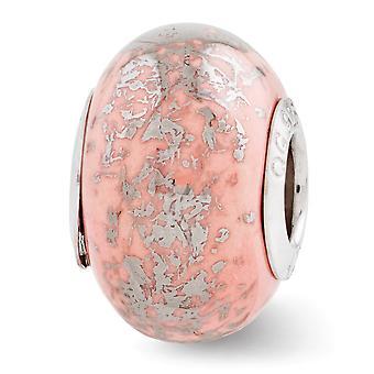 925 Sterling Silver finition polonaise Réflexions rose avec Platinum Foil Ceramic Bead Charm Pendant Necklace Bijoux Cadeau de bijoux