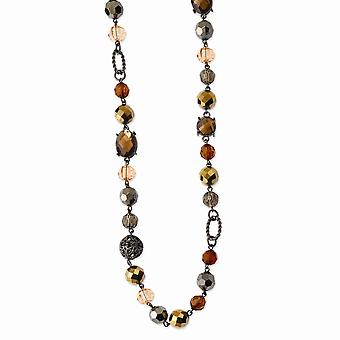 Black Plating Fancy Lobster Closure Black plated Multicolored Glass and Beads With Velor Cord 42inch Necklace Jewely Gi