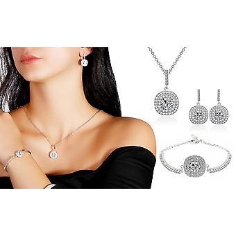 Pude Halo Sølv belagt halskæde ørering og armbånd smykker sæt