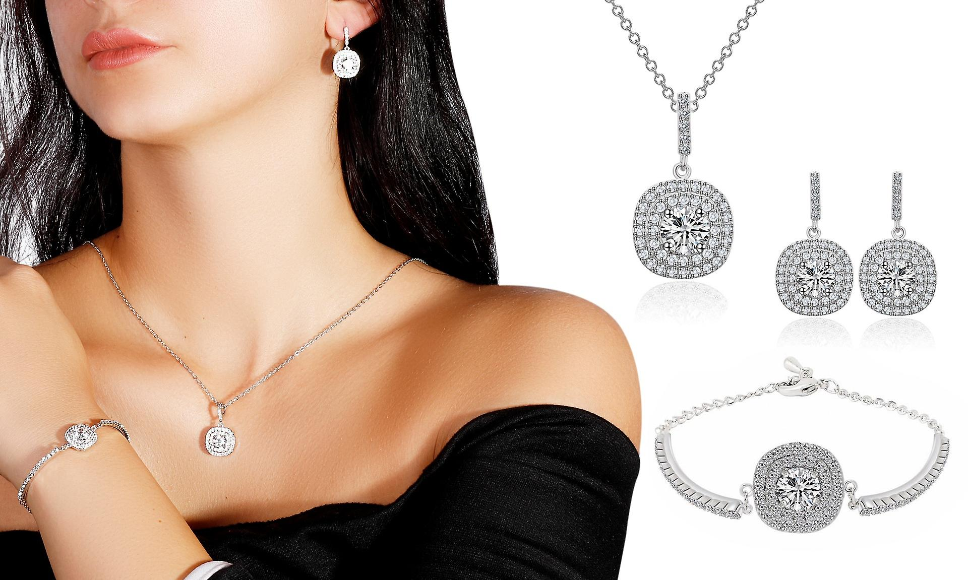 Cushion Halo Silver Plated Necklace Earring And Bracelet Jewellery Set