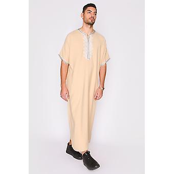 Gandoura hassan men's short sleeve full-length embroidered robe casual thobe in beige
