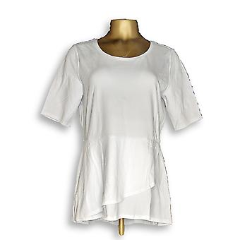 Isaac Mizrahi Live! Kvinner ' s topp albue ermet peplum volang hvit A303962