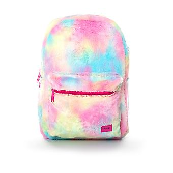 Spiral Rainbow Faux fur Backpack in Tie Dye