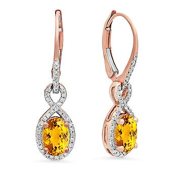 Dazzlingrock Collection 10K Oval Citrine & Round White Diamond Ladies Infinity Dangling Earrings, Rose Gold