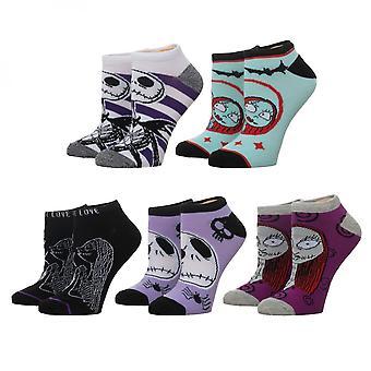 Nightmare Before Christmas 5-Pair Pack Women's Ankle Socks