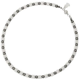 Eternal Collection Alchemy Silver And Hematite Round Beaded Necklace