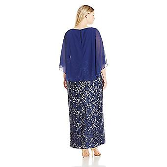 Alex Evenings Women's Plus Size Lace Dress with Chiffon Cape, Navy Nude, 16W