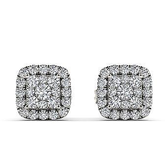 Igi certifié authentique 10k or blanc 0,50 ct boucles d'oreilles clou diamant pushbacks