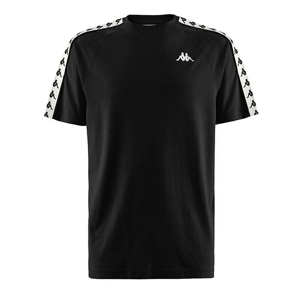 Kappa Banda Coen Mens Short Sleeve Retro Fashion T-Shirt Tee Black