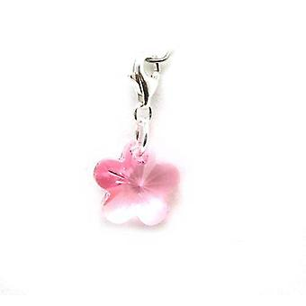 The Olivia Collection Silver Pink Flower Charm Made With Swarovski Crystals