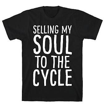 Selling my soul to the cycle parody white print t-shirt