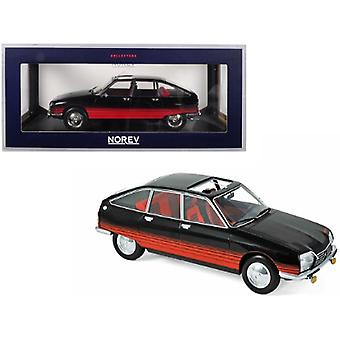 1978 Citroen Gs Basalte With Sunroof Open Black And Red Deco 1/18 Diecast Model Car By Norev