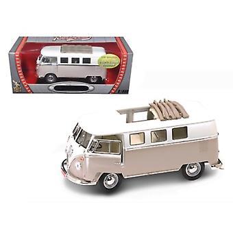 1962 Volkswagen Microbus avec crème de toit rétractable 1/18 Diecast Car par Road Signature