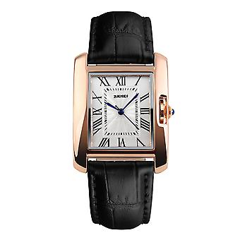 Skmei Women's Watch Square Rose Gold Roman Numerals Genuine Leather Strap Black