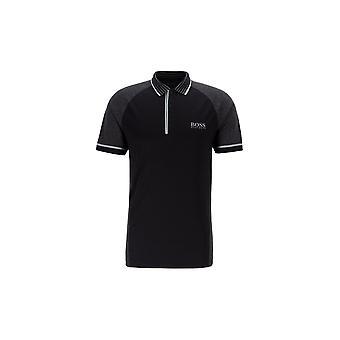 Hugo Boss Paule Pro 3 camisa polo negro de manga corta de algodón