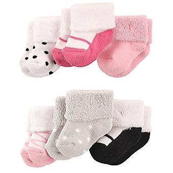 Luvable Friends Newborn Baby Terry Socks, 6 Pack,, Ballet Shoes, Size 0-3 Months