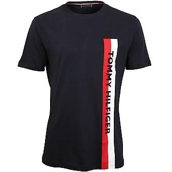Tommy Hilfiger Side Stripe Logo Organic Cotton T-Shirt, Navy