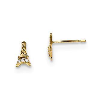 4.65mm 14k Madi K Barn CZ Cubic Zirconia simulert diamant Eiffeltårnet post øredobber smykker gaver til kvinner