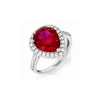 Cheryl M 925 Sterling Silver Simulated Ruby and Cubic Zirconia Ring Jewelry Gifts for Women - Ring Size: 7 to 8