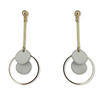 Hosszú disc drop hoop fülbevaló - arany szürke